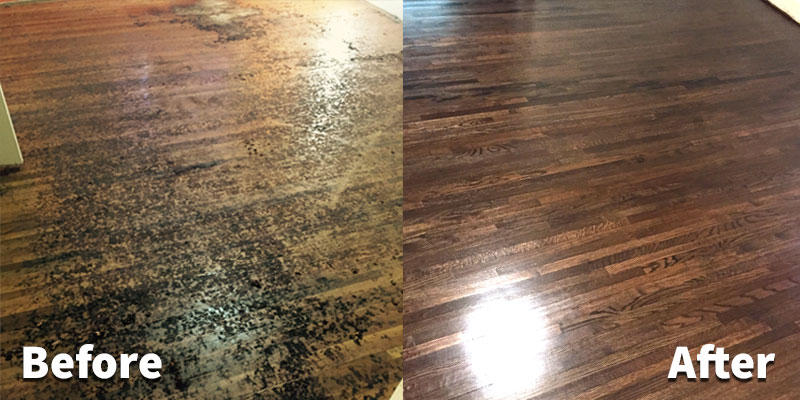 Before and After Hardwood Refinishing