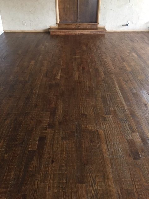 Hand scraped hardwood installation